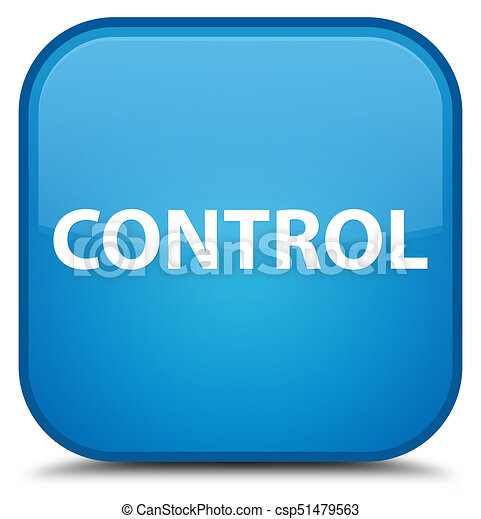 Control special cyan blue square button - csp51479563
