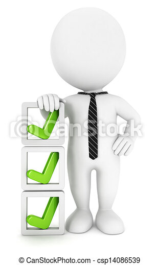 controlelijst, witte , 3d, mensen - csp14086539