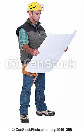 controleren, voorman, blueprints. - csp10491395