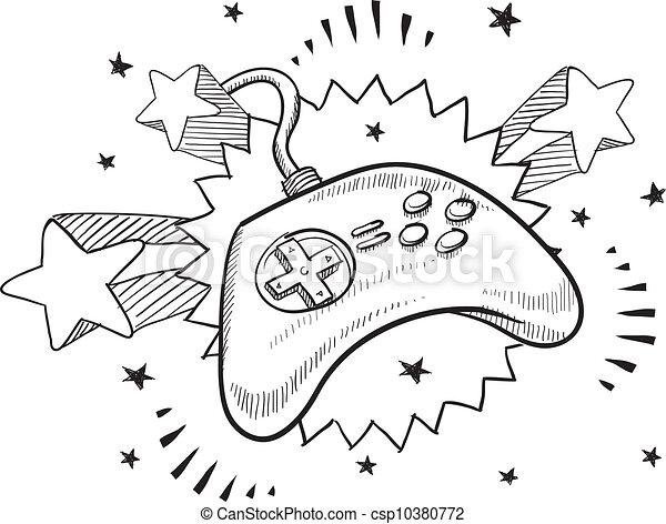 Videospiel-Kontroller-Sketch - csp10380772