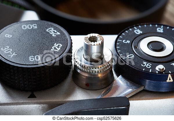 controllo, quadrante, cornice, contatore, slr, otturatore, macchina fotografica, velocità - csp52575626
