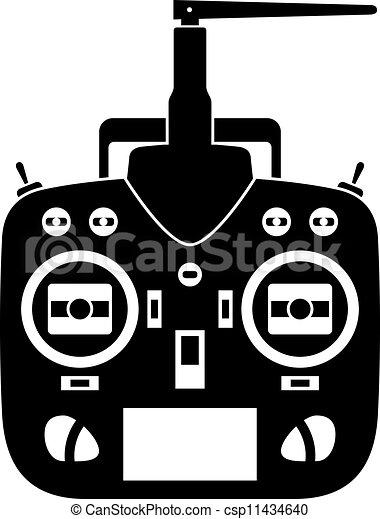 controllo, trasmettitore, remoto, vettore, nero, rc, icona - csp11434640