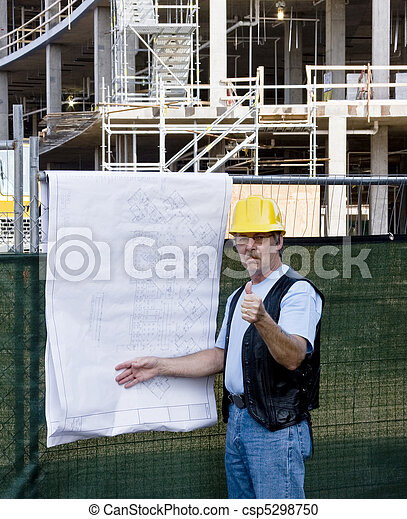 contruction worker with blue prints - csp5298750