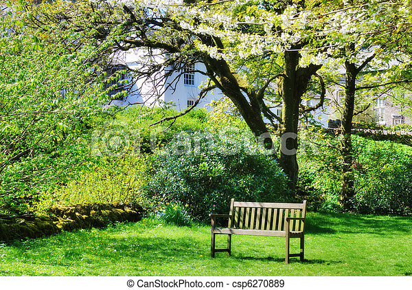 Contry Banc Jardin Anglais Jardin Anglais Bois Arbres Entouré