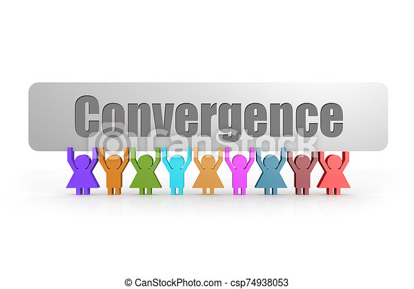 Convergence word on a banner hold by group of puppets - csp74938053