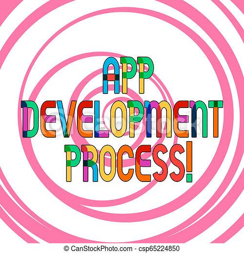 La escritura manual conceptiva muestra proceso de desarrollo de aplicaciones. Una foto de negocios muestra predicción de los próximos negocios de un producto múltiples capas de converger en círculos concéntricos. - csp65224850