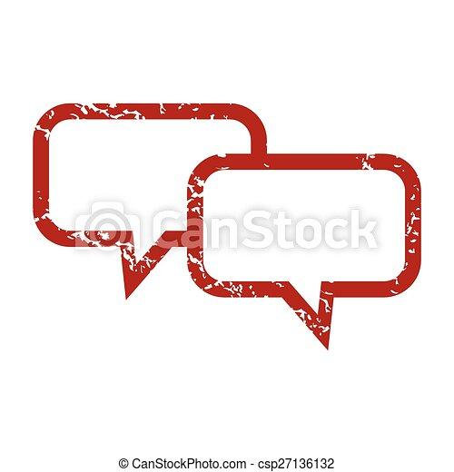 Logo de conversación grunge roja - csp27136132