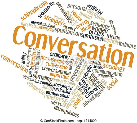 abstract word cloud for conversation with related tags and
