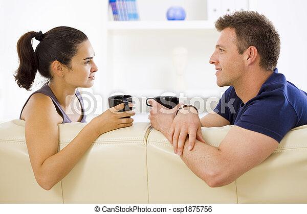 conversation, couple, maison - csp1875756