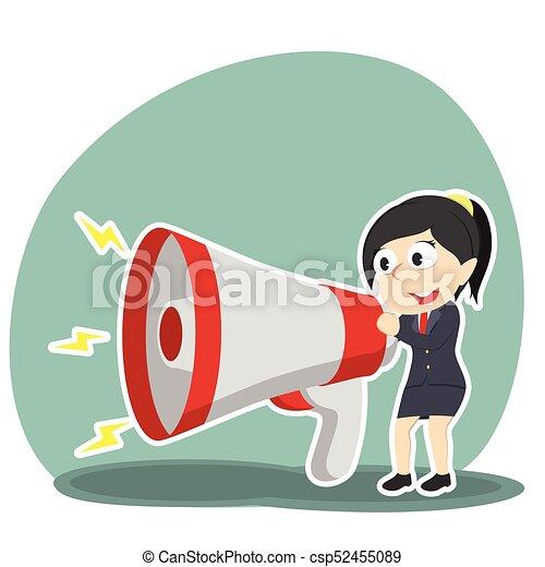 conversation, femme affaires, porte voix, grand - csp52455089