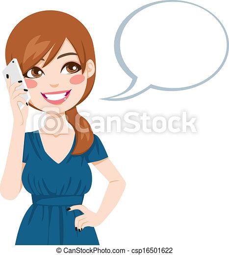 conversation, femme, smartphone, utilisation - csp16501622
