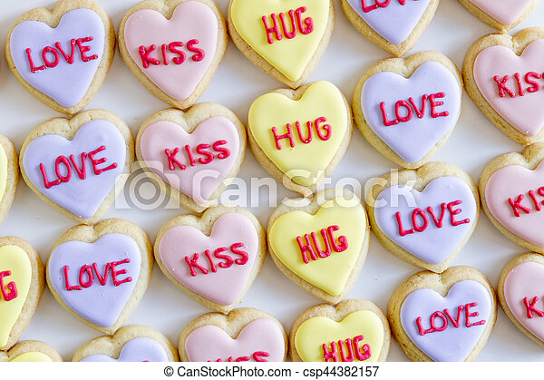 Conversation Heart Decorated Cookies Valentine Day Conversation