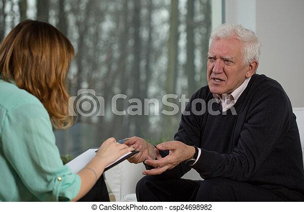 conversation, patient, personnes agées, psychothérapeute - csp24698982