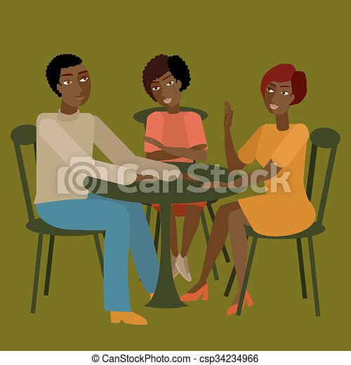 conversation., tendo, família, africano - csp34234966