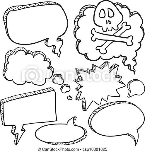 conversazione, bolle, discorso, cartone animato - csp10381825