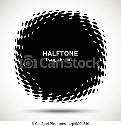 Convex distorted black abstract vector circle frame halftone dots logo emblem design element for new technology pattern background. Round border Icon using halftone circle dots raster texture. - csp46294540