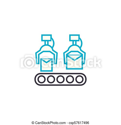 Conveyer production linear icon concept. Conveyer production line vector sign, symbol, illustration. - csp57617496