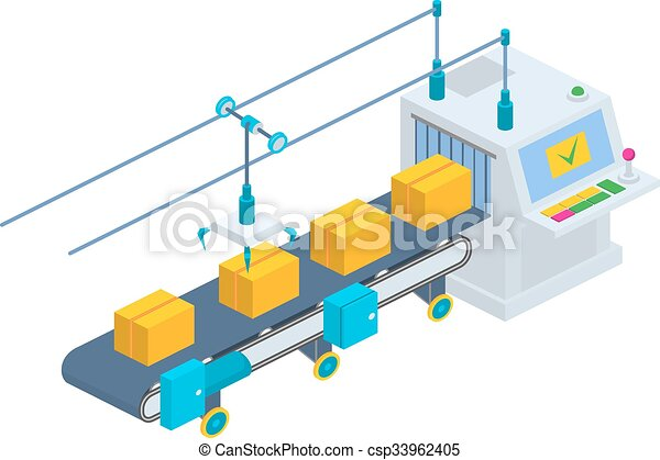Conveyor vector illustration. Isometric industrial production li - csp33962405