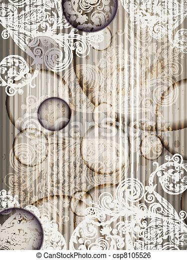 convite, vetorial, listras, 10, padrão floral, abstratos, modelo, eps, grunge, esguichos - csp8105526