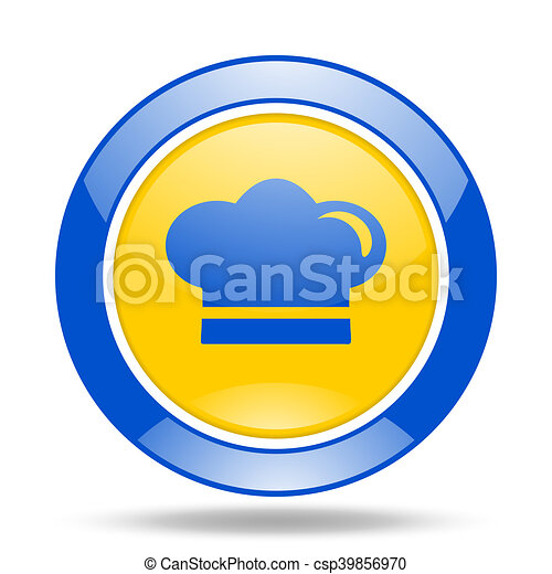cook blue and yellow web glossy round icon - csp39856970