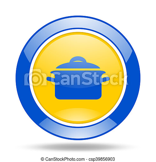 cook blue and yellow web glossy round icon - csp39856903