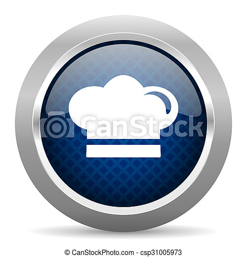 cook blue circle glossy web icon on white background, round button for internet and mobile app - csp31005973