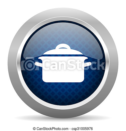 cook blue circle glossy web icon on white background, round button for internet and mobile app - csp31005976