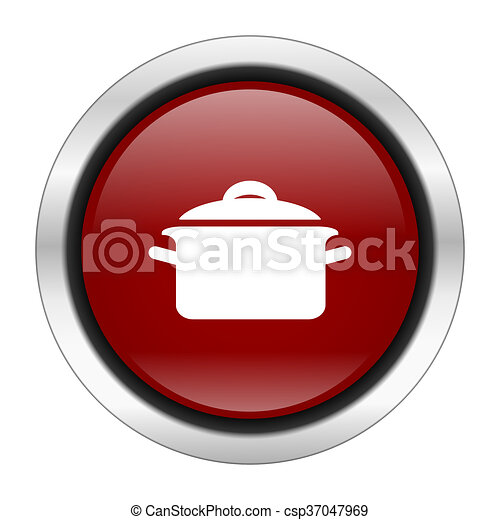 cook icon, red round button isolated on white background, web design illustration - csp37047969