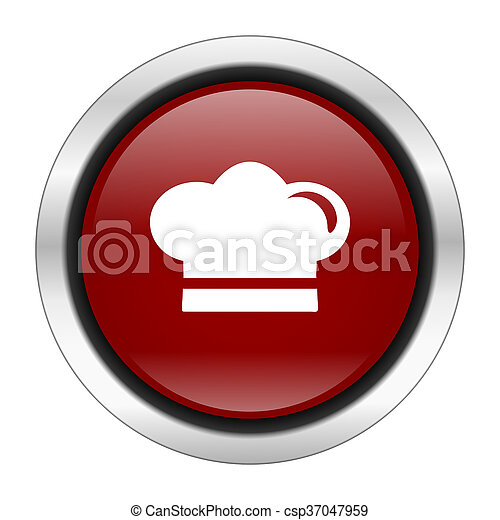 cook icon, red round button isolated on white background, web design illustration - csp37047959