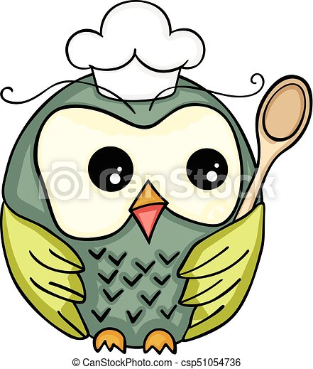 scalable vectorial image representing a cook owl with wooden rh canstockphoto co uk Cute Owl Clip Art Baby Owl Clip Art