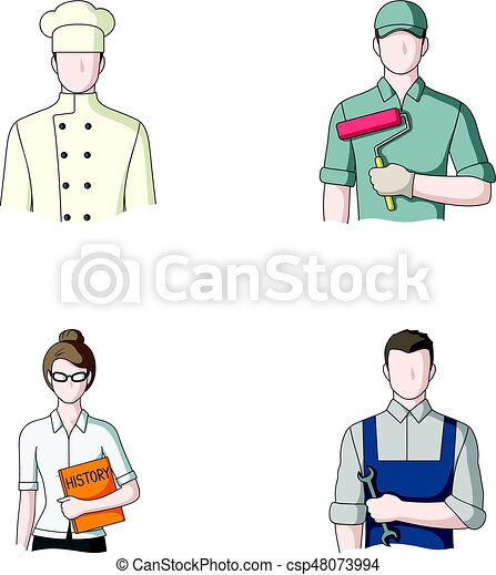 Cook, painter, teacher, locksmith mechanic.Profession set collection icons in cartoon style vector symbol stock illustration web. - csp48073994