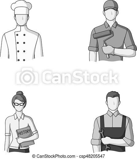 Cook, painter, teacher, locksmith mechanic.Profession set collection icons in monochrome style vector symbol stock illustration . - csp48205547