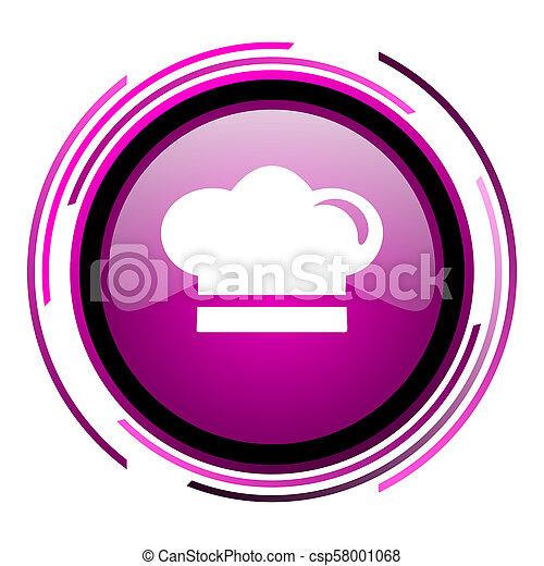 Cook pink glossy web icon isolated on white background - csp58001068