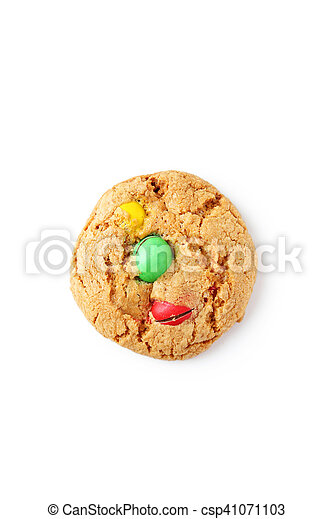 Cookie with colorful candy isolated on white - csp41071103