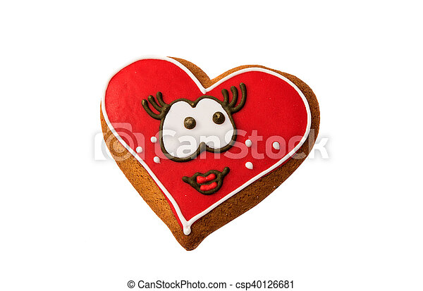 Cookies heart for Valentine's Day isolated - csp40126681