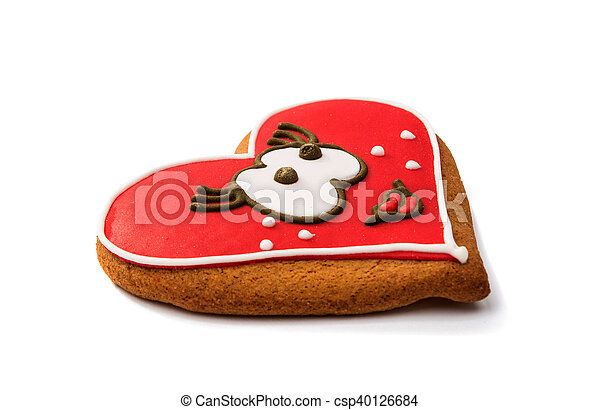 Cookies heart for Valentine's Day isolated - csp40126684