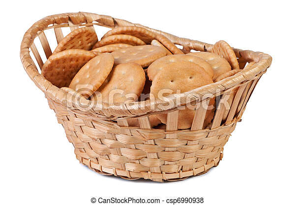 Cookies in a basket isolate on white background. - csp6990938