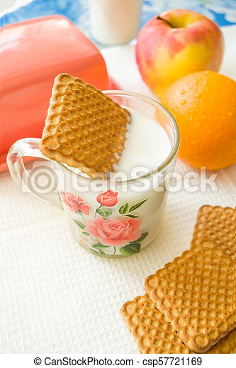 cookies in a Cup of milk - csp57721169