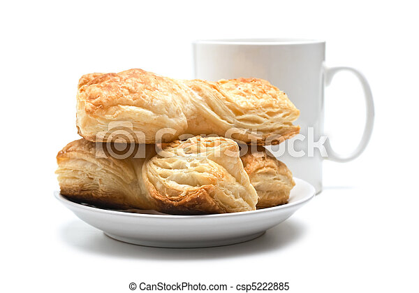 cookies on a plate and cup - csp5222885