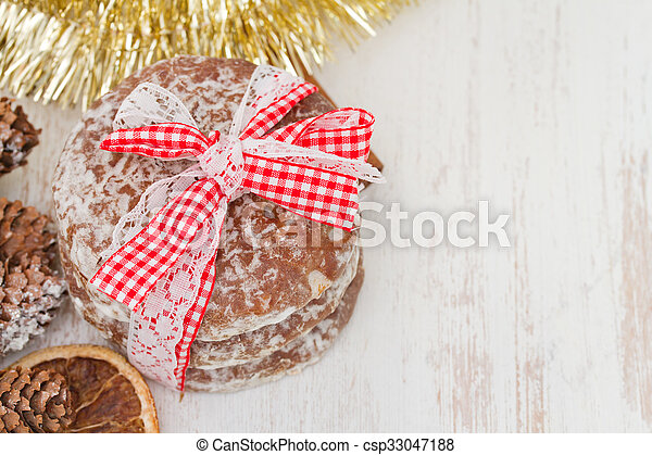 cookies on white wooden background - csp33047188