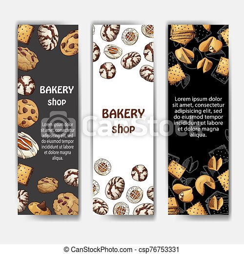 Cookies poster in hand drawn style. Sketch illustration for menu or banner. Vector - csp76753331