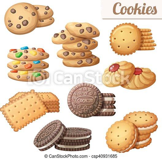 Cookies. Set of cartoon vector food icons - csp40931685