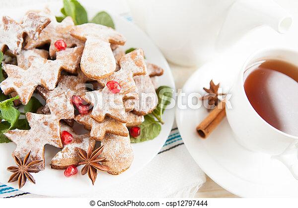 Cookies with cinnamon - Christmas morning tea - csp12797444