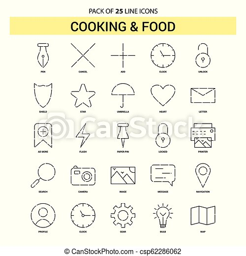 Cooking and Food Line Icon Set - 25 Dashed Outline Style - csp62286062