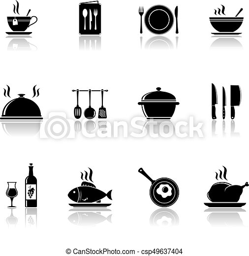 Cooking and kitchen icons with reflection - csp49637404