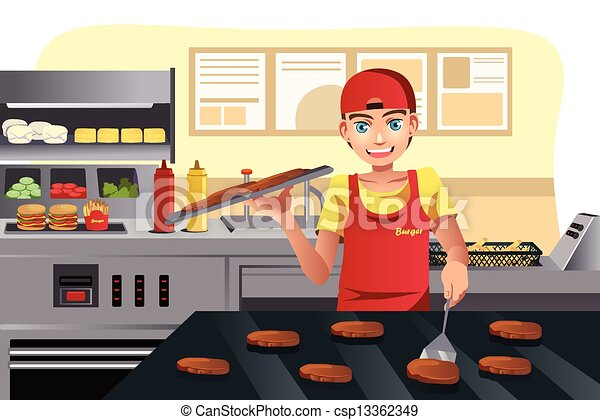 Cooking at fast food - csp13362349