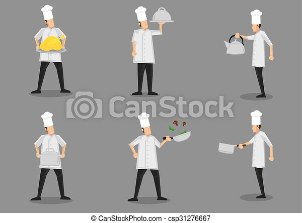 Cooking Chef Cartoon Characters Vector Illustration Front And