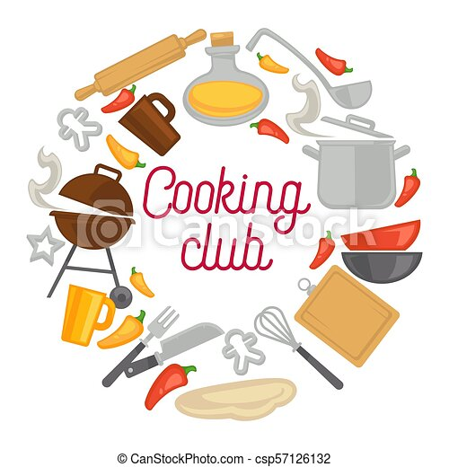 Cooking Club Chef Kitchenware Icons Vector Poster