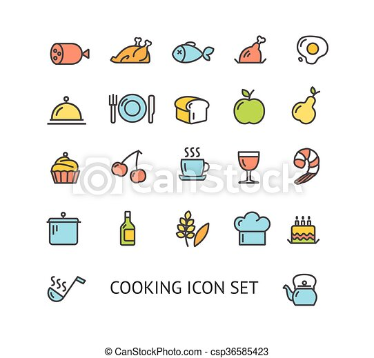 Cooking Colorful Outline Icon Set. Vector - csp36585423