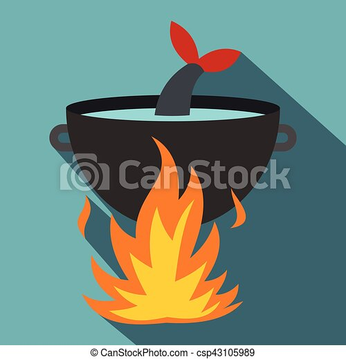Cooking fish soup on a fire icon, flat style - csp43105989